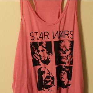 Jr's Pink Star Wars Tank Top Chewy Luke Han Vader